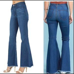 JUDY BLUE Sz 26(3) Boho Wide Leg High Waist Jeans